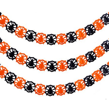 Happy Halloween Party Hanging Pumpkin Garland Banner Decoration Bunting - 2x Spider - Happy Halloween Birthday Party