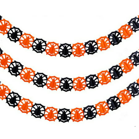 Happy Halloween Party Hanging Pumpkin Garland Banner Decoration Bunting - 2x Spider - Denton Halloween Party