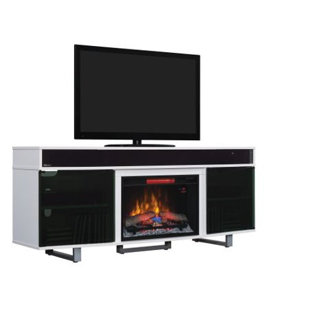 TV Stand w/Speakers and 25″ Curved IR Qrtz Fireplace, Gloss White