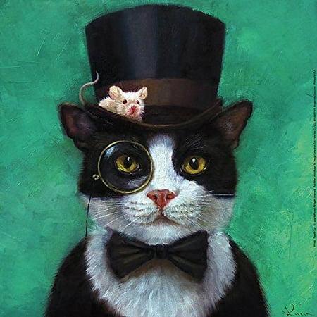 Tuxedo Cat Art - Tuxedo Cat with Mouse  Hat by Lucia Heffernan 12x12 Steampunk Art Print Poster Humor