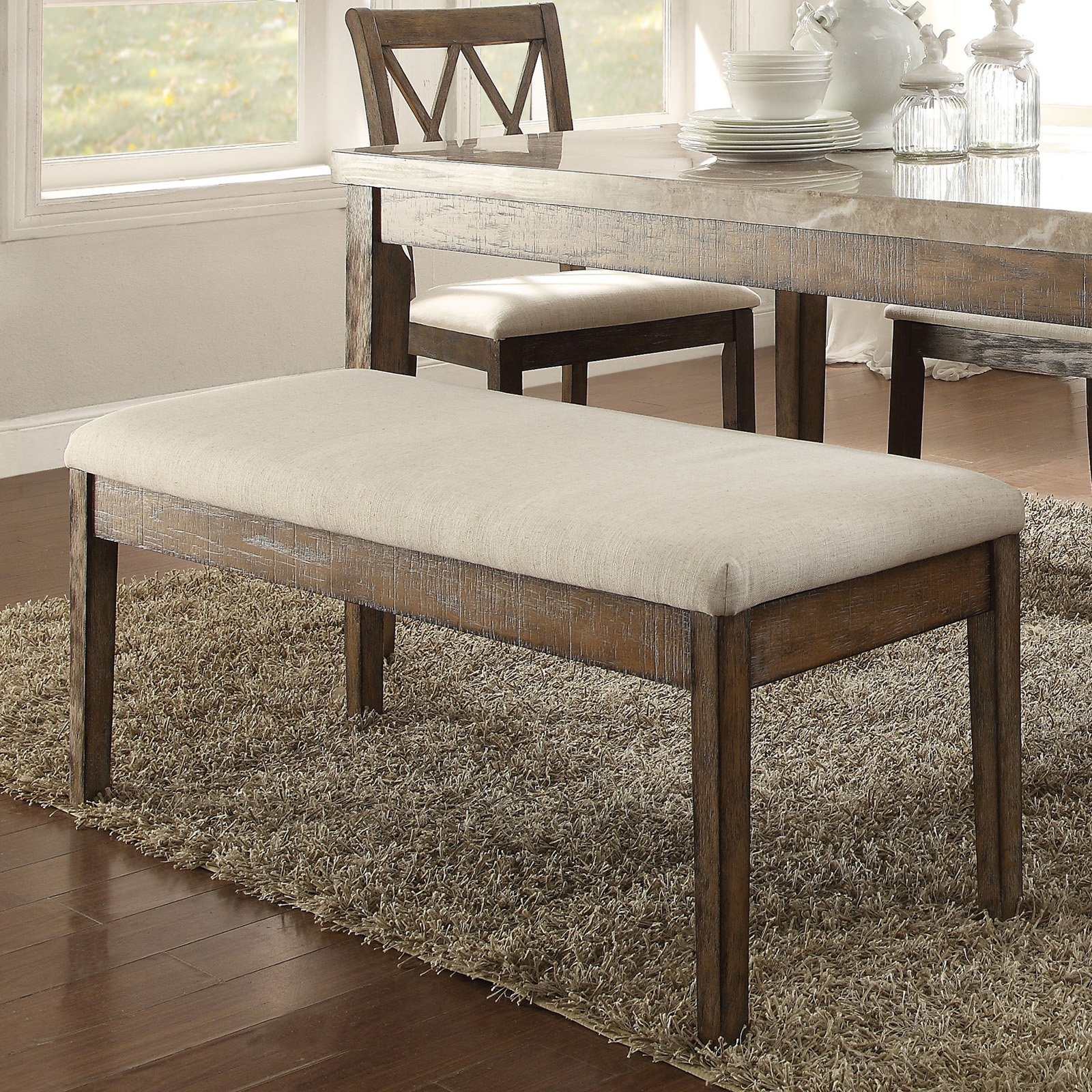 ACME Claudia Bench, Beige Linen & Salvage Brown