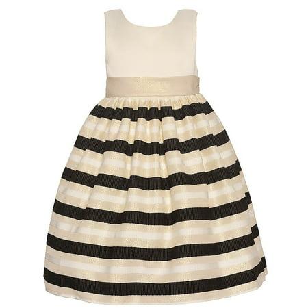 American Princess Girls Black Ivory Shimmery Stripe Christmas Dress