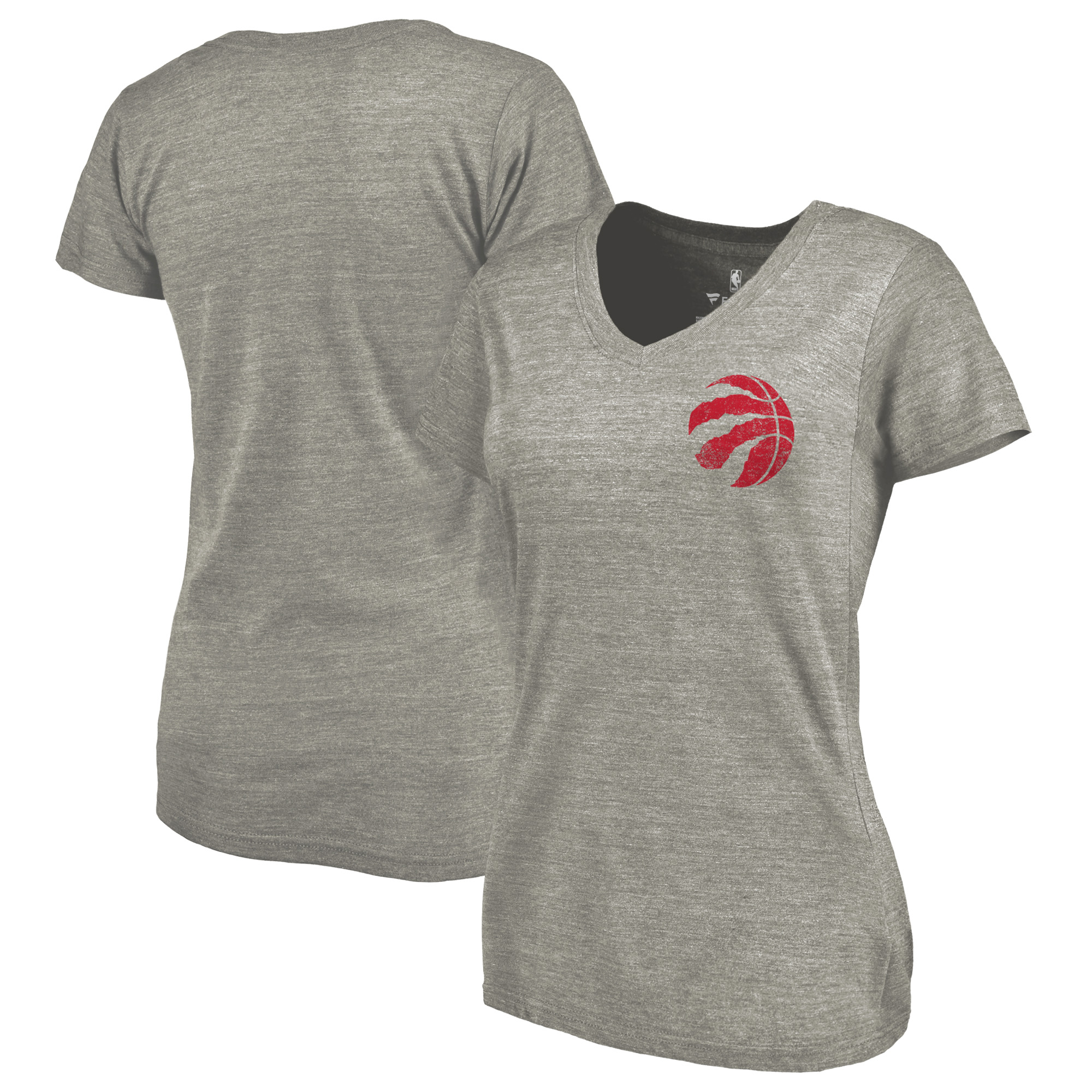Toronto Raptors Fanatics Branded Women's Primary Logo Left Chest Distressed Tri-Blend V-Neck T-Shirt - Heathered Gray