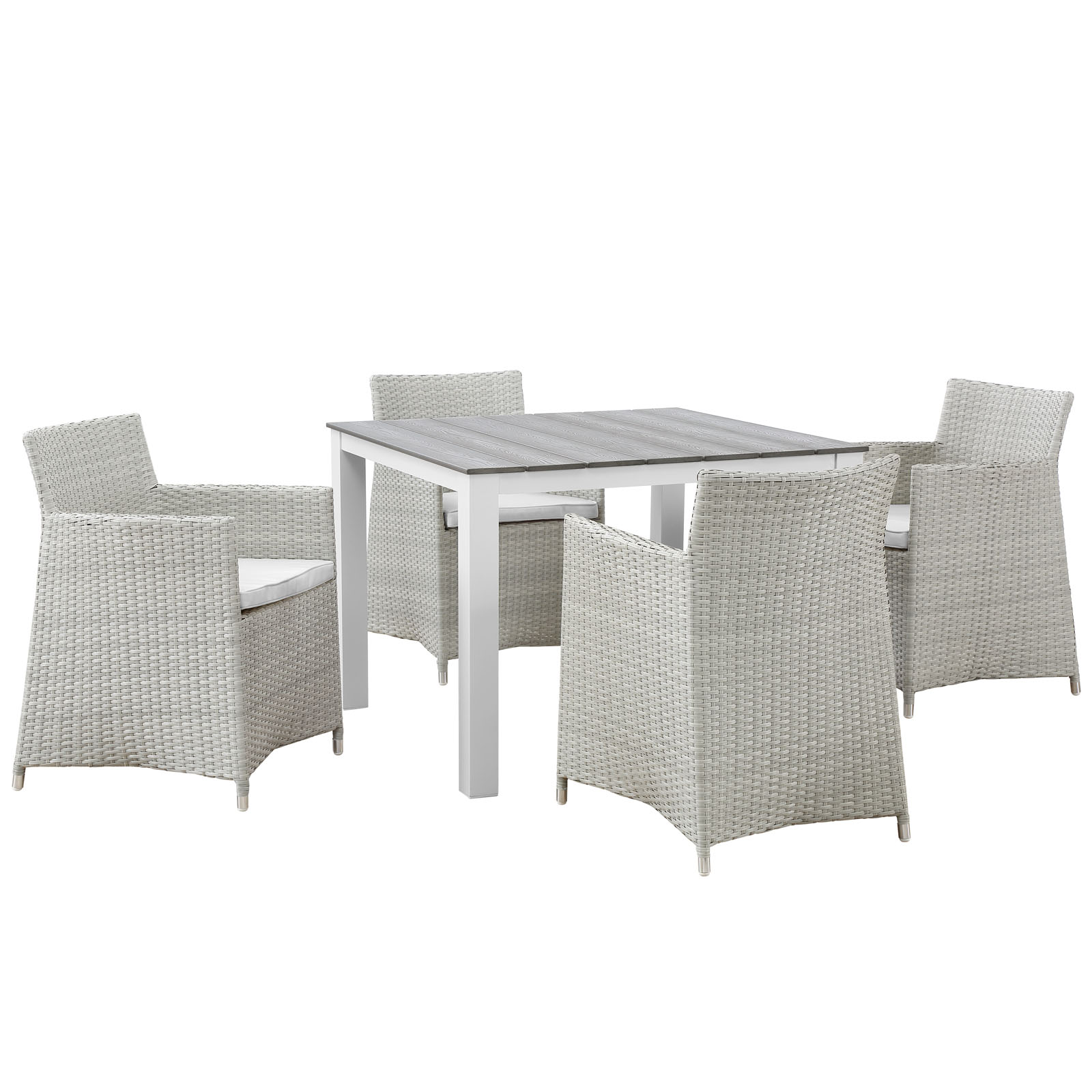 Modern Contemporary Five PCS Outdoor Patio Dining Room Set, White, Polywood, Aluminum by