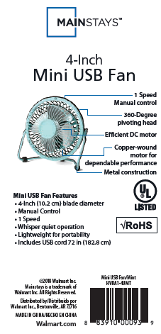 Office or Home Mini Fan MAINSTAYS 4-Inch 1Speed Metal Construction