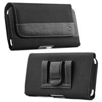 [World Acc] Premium PU Leather Pouch Holster Belt Clip Case For LG Stylo 3 / LG Stylo 3 Plus (2017) (Premium Black Nylon Pouch)