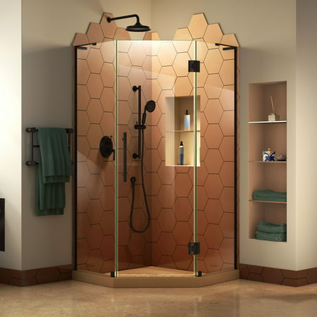 DreamLine Prism Plus 38 in. x 72 in. Frameless Neo-Angle Hinged Shower Enclosure in Satin (Neo Single Door Shower Enclosure)