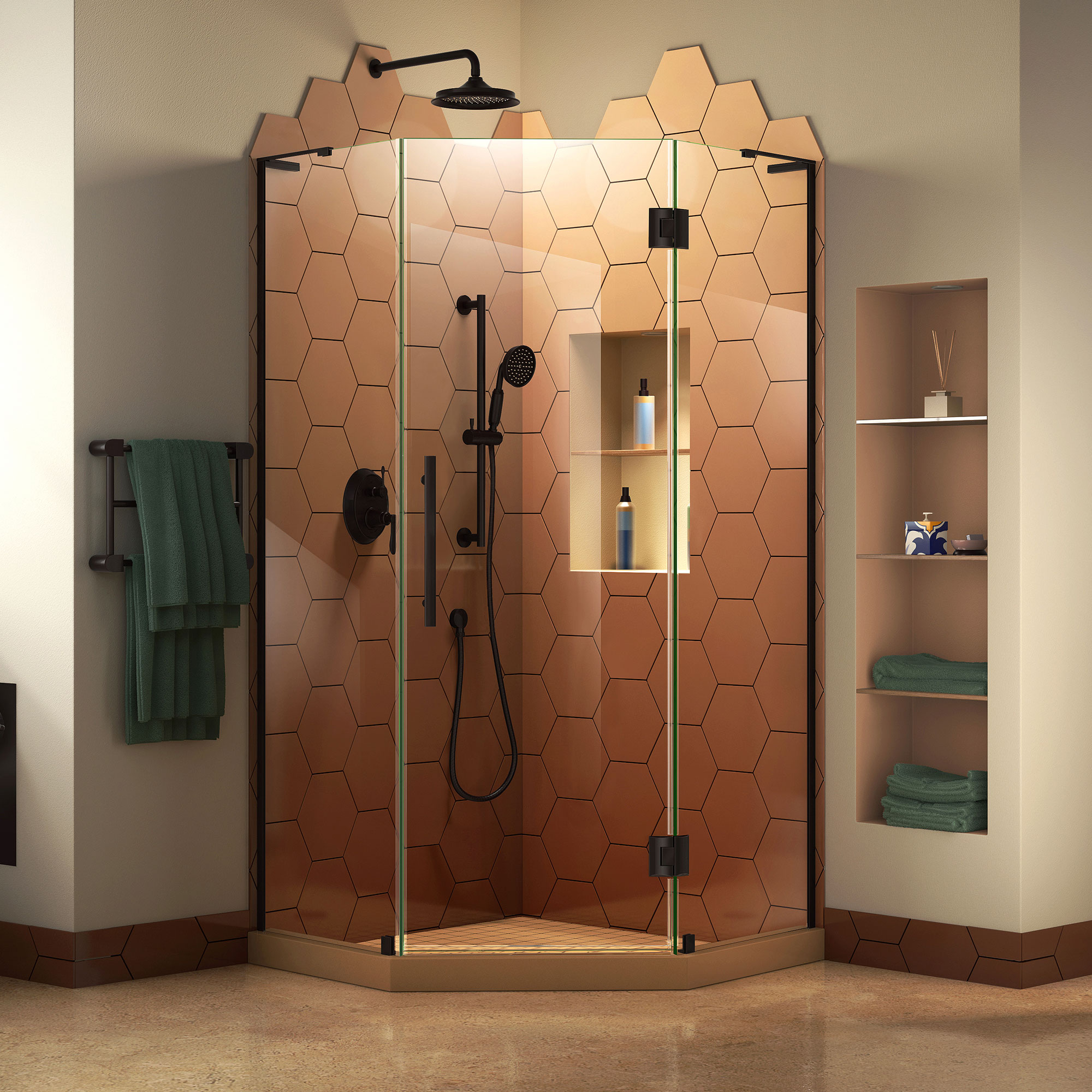 DreamLine Prism Plus 38 in. x 72 in. Frameless Neo-Angle Hinged Shower Enclosure in Satin Black