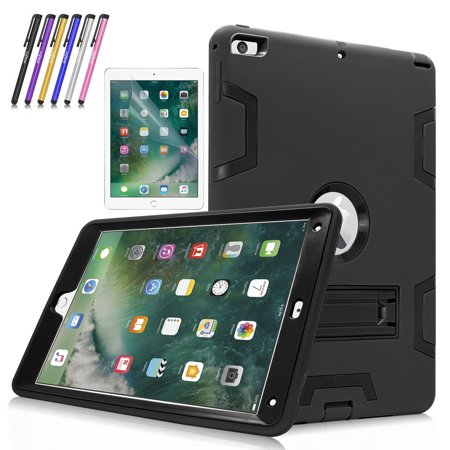 New iPad 9.7 Tablet Case, Mignova Heavy Duty rugged Hybrid Protective Case with Kickstand for iPad 9.7 5th/6th Generation 2017/2018 A1822/A1823 + Screen Protector Film and Stylus Pen (Black /