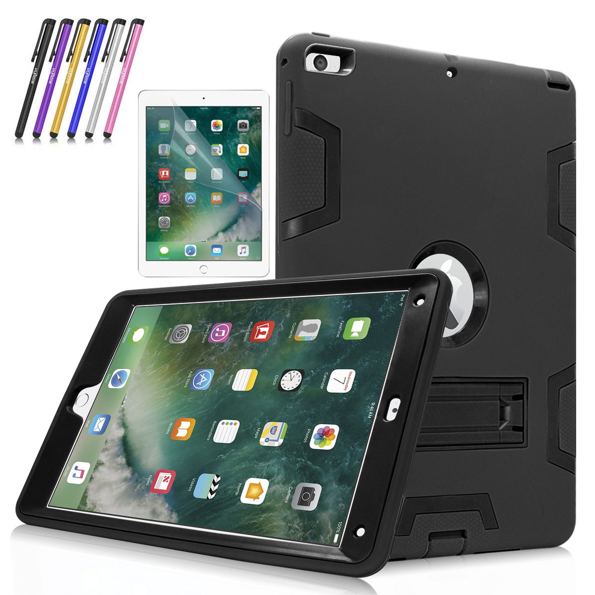 New iPad 9.7 case, Mignova Heavy Duty rugged Hybrid Protective Case with Kickstand for iPad 9.7 5th/6th Generation 2017/2018 A1822/A1823 + Screen Protector Film and Stylus Pen (Black / Black)