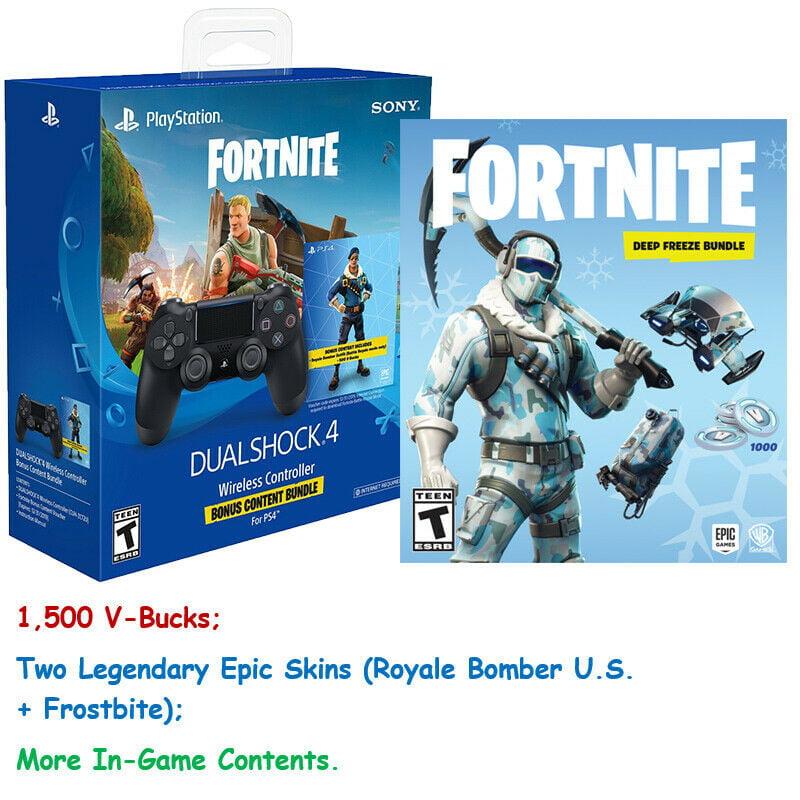 Fortnite Ps4 1500 V Bucks Royale Bomberfrostbite Skins And Ps4 Controller Walmartcom