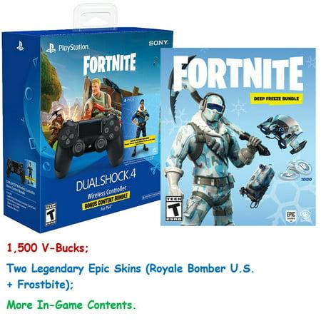 Fortnite Ps4 1500 V Bucks Royale Bomberfrostbite Skins And Ps4 Controller