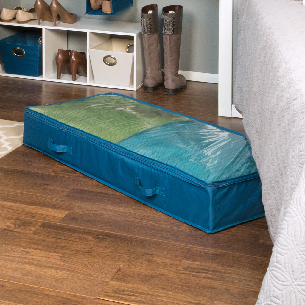 Richards Homewares Rhi Home Teal Underbed Storage Bags Chest Organizer