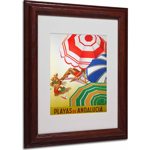 "Trademark Fine Art ""Beaches of Andalucia"" Matted Framed Art by Vintage Apple Collection, Wood Frame"
