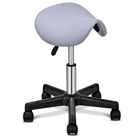 Costway Adjustable Saddle Salon Stool Hydraulic Rolling Chair Massage Tattoo Facial Spa