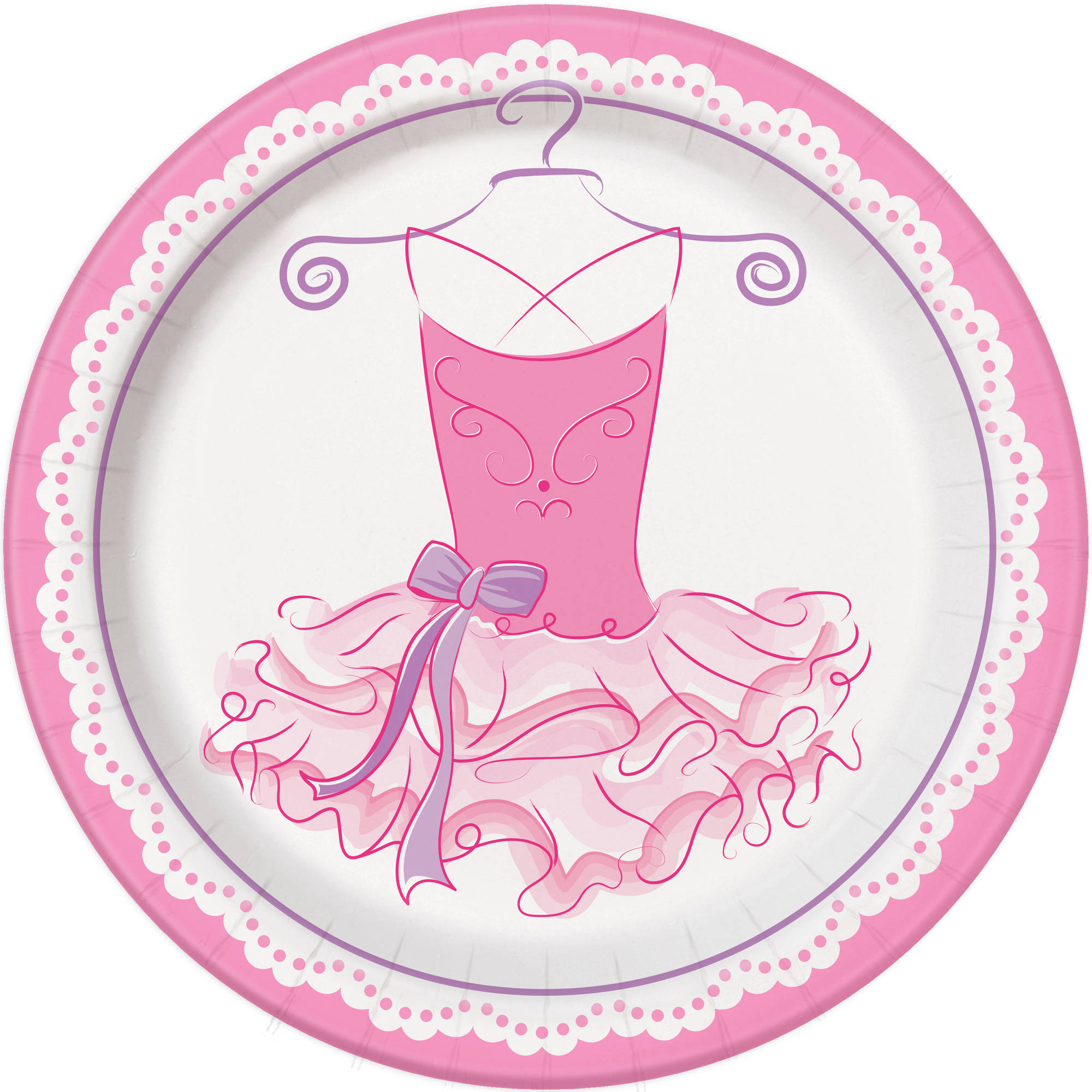 "9"" Pink Ballerina Party Plates, 8ct"