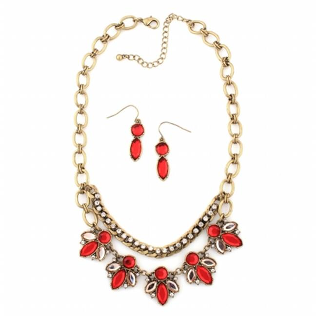 Eshopo 0800000079118 Gold-Tone Metal Coral Crystal Necklace And Earring Set
