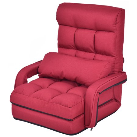 Arm Chair Beds - Gymax Red Folding Lazy Sofa Floor Chair Sofa Lounger Bed with Armrests and a Pillow