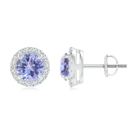 Claw-Set Tanzanite and Diamond Halo Stud Earrings in 14K White Gold (5mm Tanzanite) - SE1492TD-WG-AA-5