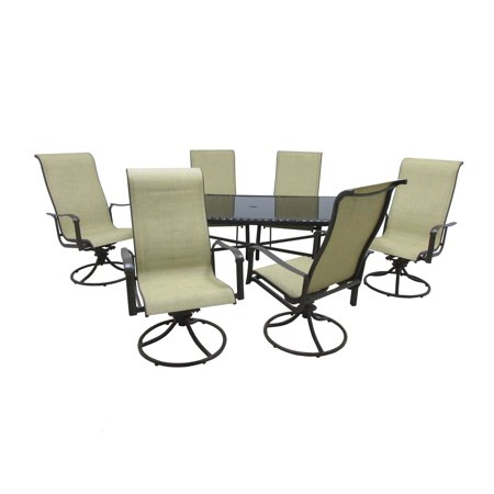 Outdoor Innovation Pacifica Aluminum Piece Rectangular Glass Top - Rectangular glass top patio dining table