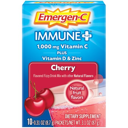 Emergen-C Immune+ System Support (10 Count, Cherry Flavor) Dietary Supplement Drink Mix With Vitamin D, 1000mg Vitamin C, 0.32 Ounce Packets