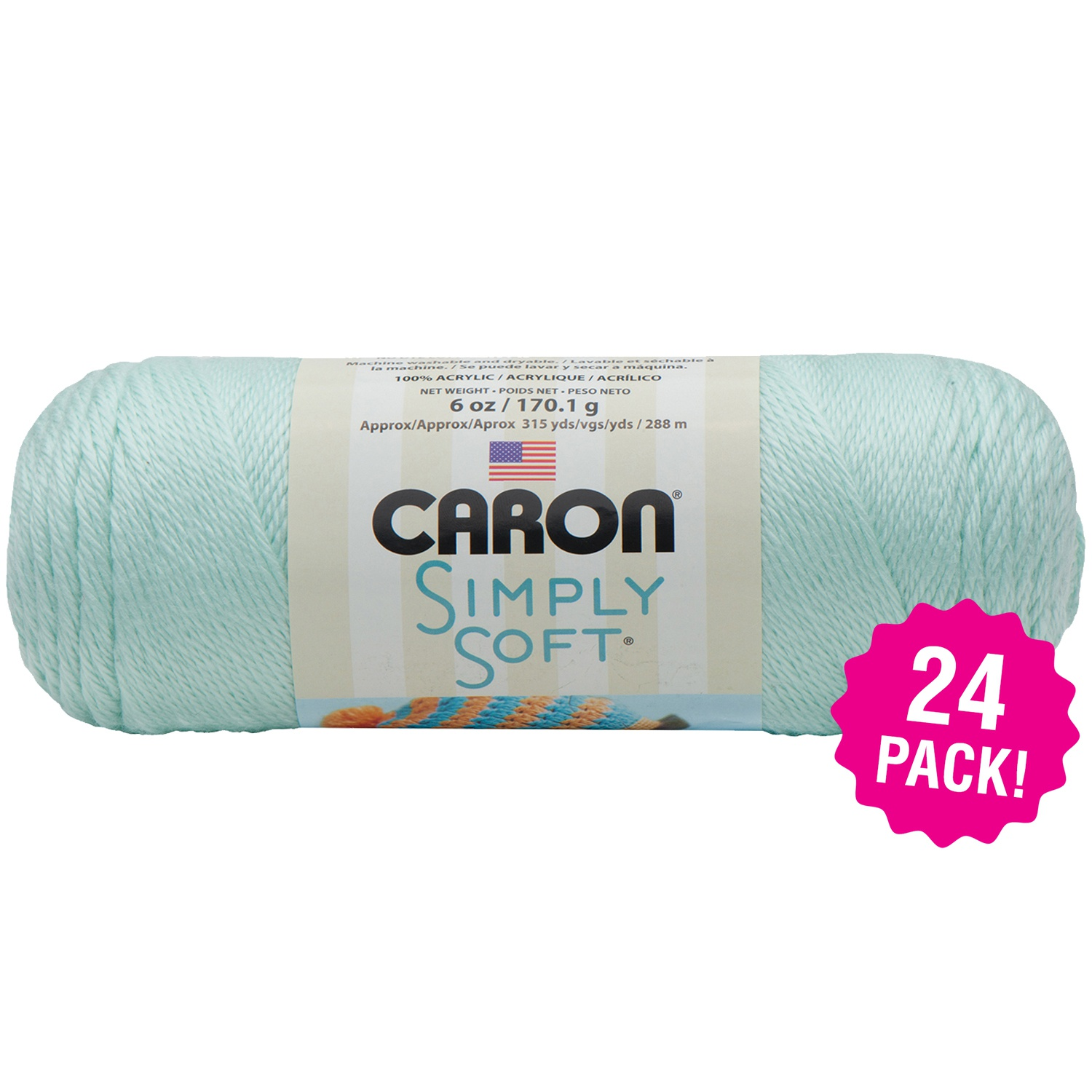 Caron Simply Soft Solids Yarn - Soft Green, Multipack of 24