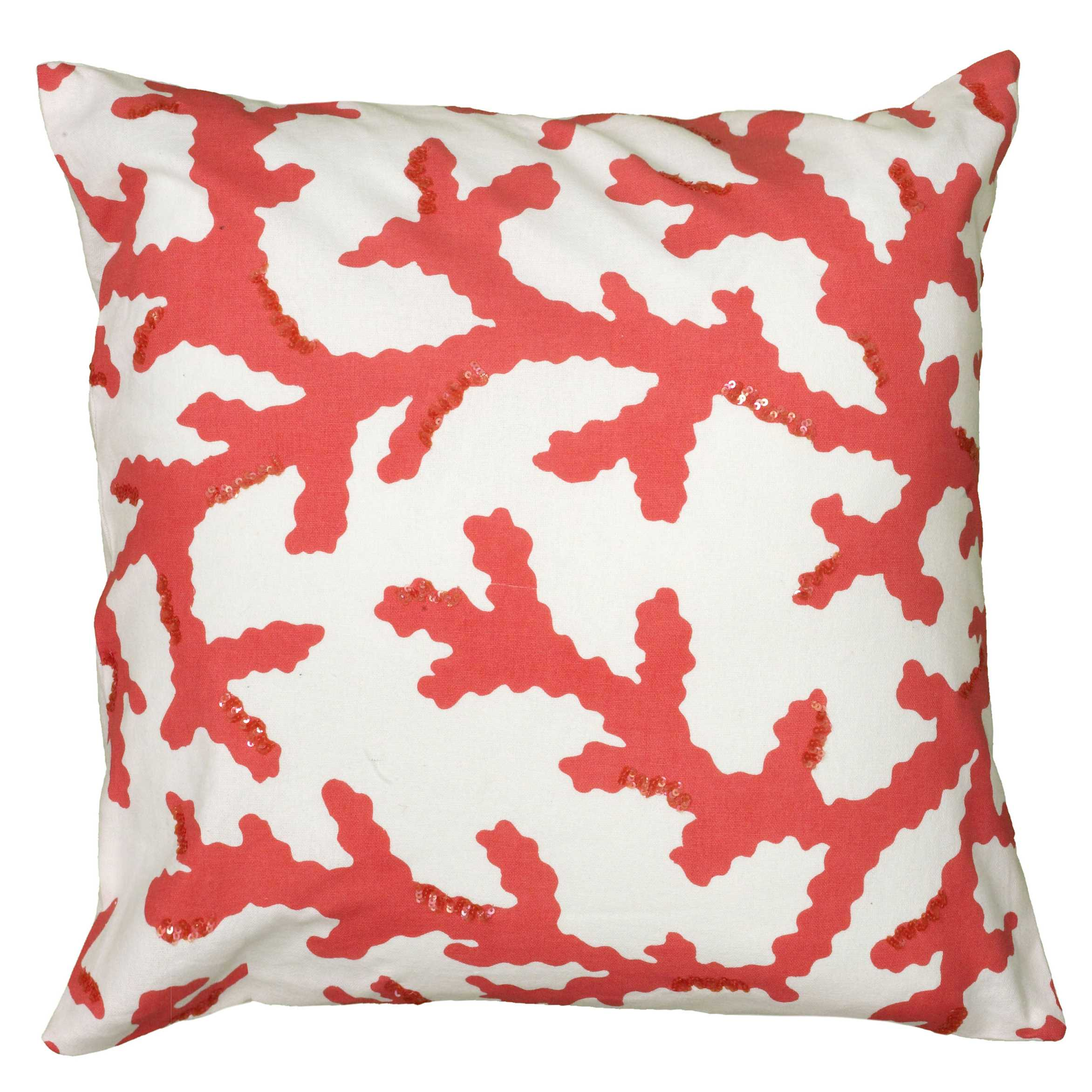 "Rizzy Home Decorative Poly Filled Throw Pillow Coastal 18""X18"" Coral"