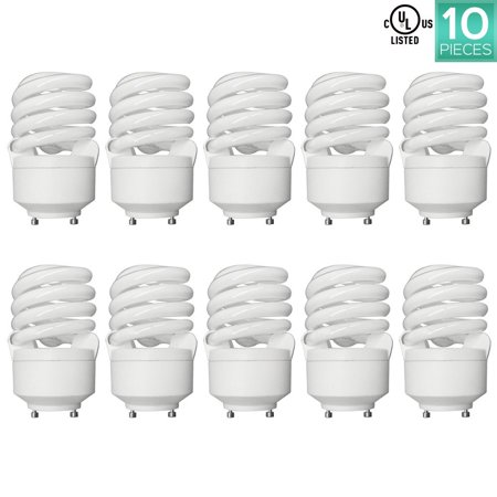 Luxrite 20-Watt CFL T2 Spiral Bulb, 75W Equivalent, 2700K Warm White, 1300 Lumens, GU24 Bi-Pin Base (10 Pack)