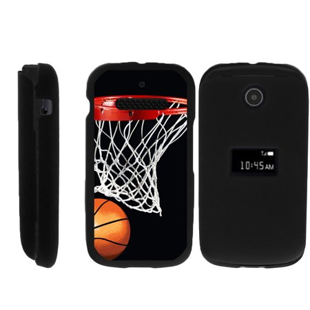 Two Ball Case (ZTE Cymbal Z320 Matte Black 2 Piece Snap Shell Case with Unique Printed Designs - Basketball Swish )