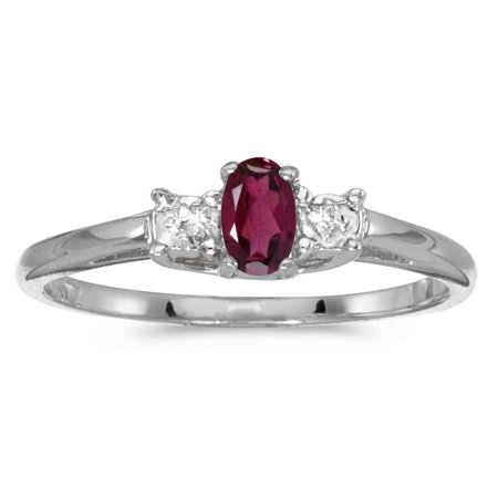 14k White Gold Oval Rhodolite Garnet And Diamond Ring (14k Rhodalite Garnet Ring)