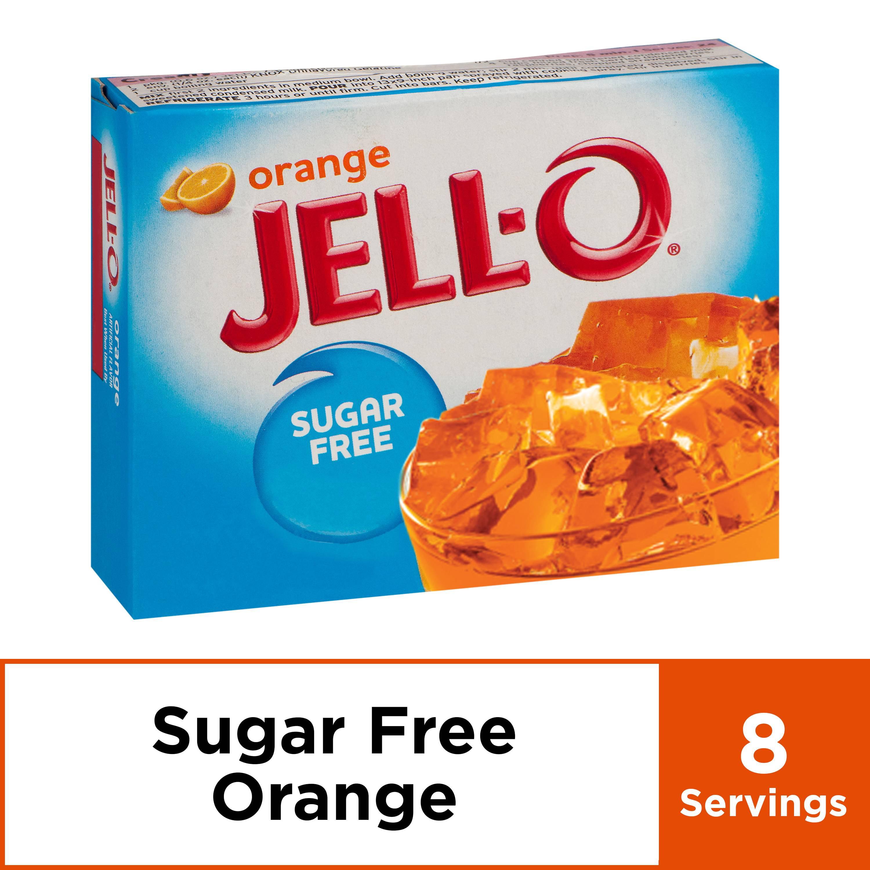 (4 Pack) Jell-O Orange Sugar Free Gelatin, 0.6 oz Box