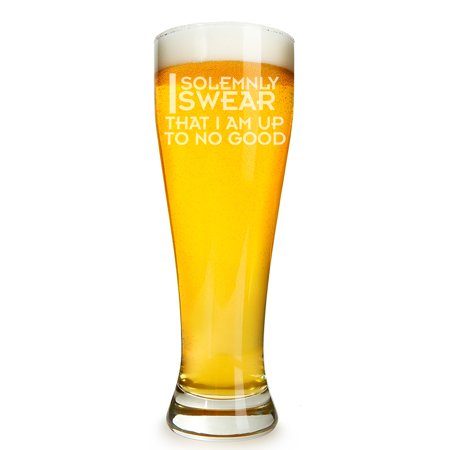 I Solemnly Swear That I am Up To No Good Engraved 16 ounce Beer Glass Pilsner