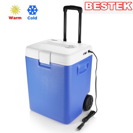 BESTEK Wheeled Electric 30 Quart Cooler and Warmer - Portable Car Refrigerator with DC 12V Vehicle Plug for Truck Party, Travel, Picnic Outdoor, Camping, Home, Office (Blue)