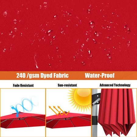 Gymax 10 Ft Square Offset Hanging Patio Umbrella 360 Degree Tilt Brick Red - image 5 of 10
