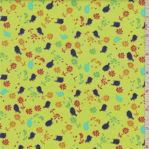Celery Green Multi Floral Flannel, Fabric By the Yard