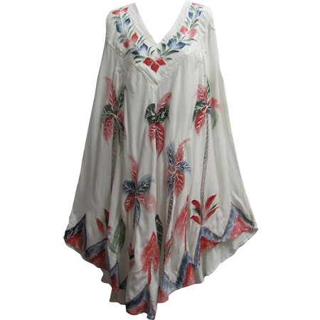 Painted Bohemian Embroidered Indian Sleeveless Caftan Cotton Sun Dress (White)