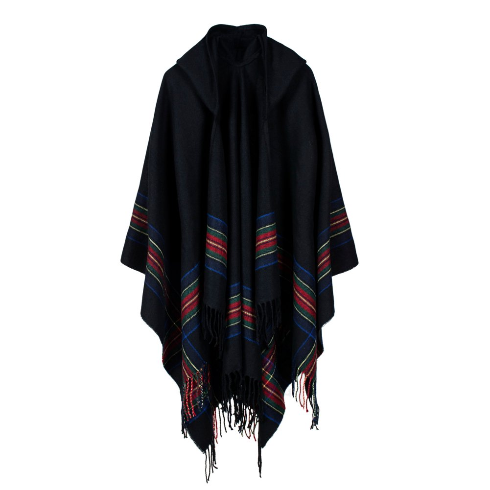 New Women Knitted Poncho Hooded Stripe Oversized Cardigan Sweater Long Shawl Scarf Cashmere Pashmina