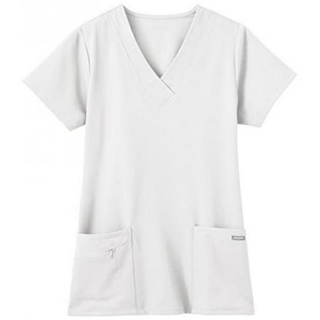 Jockey Ladies Short Sleeve Zipper Pocket Medical Uniform Top White -