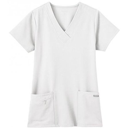 Jockey Ladies Short Sleeve Zipper Pocket Medical Uniform Top White
