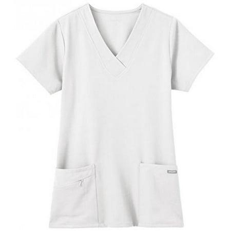Scrub Suit (Jockey Ladies Short Sleeve Zipper Pocket Medical Uniform Top White Small)