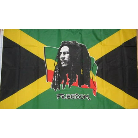 5ft x 3ft Large Bob Marley Freedom Jamaica Caribbean National Polyester Indoor Outdoor