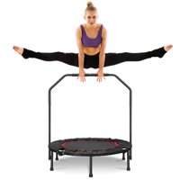 "Foldable Mini Trampoline, 40"" Fitness Trampoline Stable & Quiet Exercise Rebounder for Kids Adults Indoor/Garden Workout Load 330 lbs Portable Rebounder Trampoline with Foam Handle"