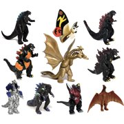 TwCare Set of 10 Godzilla Toys with Carry Bag, Movable Joint Action Figures King of the Monsters Kids Birthday Cake Toppers Pack