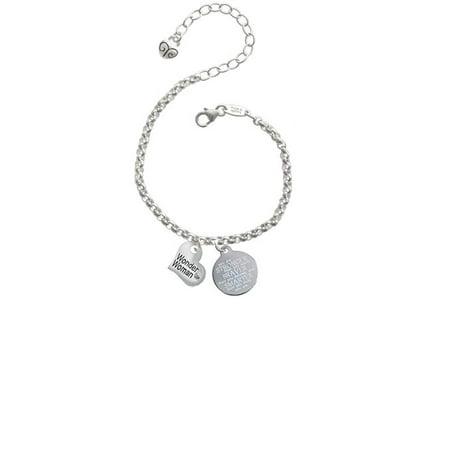 Silvertone Small Wonder Woman Heart Stronger Braver Smarter Engraved Bracelet (Cheap Engraved Bracelets)