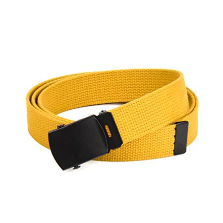 Hold'Em Military Canvas Webbing Belts for MEN'S–Black Buckle – Universal Heavy Duty Adjustable KEEP PANTS SNUG WITHOUT IRRITATING your -