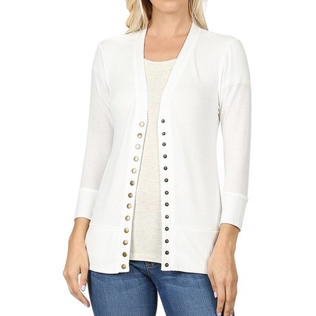 Women Classic Thin Snap Button Front V-Neck Button Down 3/4 Sleeve Ribbed Knit Cardigan