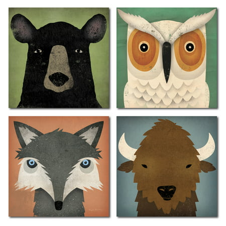 Adorable Fox, Black Bear, Owl and Bison Woodland Forrest Animals by Ryan Fowler; Children's Room Decor; Four 8x8in Paper Poster Prints](Animal Print Decor)