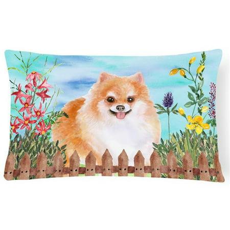 Carolines Treasures CK1278PW1216 Pomeranian No.2 Spring Canvas Fabric Decorative Pillow - image 1 de 1