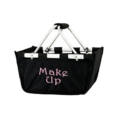 Personalized Solid Reusable Shopping Mini Market Tote Basket Craft Sewing Organizer, Black, Finished Size: 12 in. L x 9 in W x 7 in H and made of Polyester By Wholesale Boutique for $<!---->