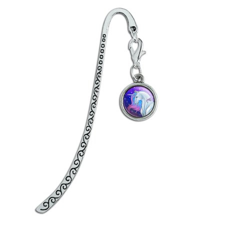 Majestic Unicorn Pink Purple Blue Metal Bookmark Page Marker with Charm